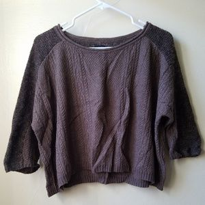 Cozy Textured Mixed Knit Cable Crop Sweater
